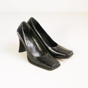 Vintage Square Toe Balck Leather Heels |